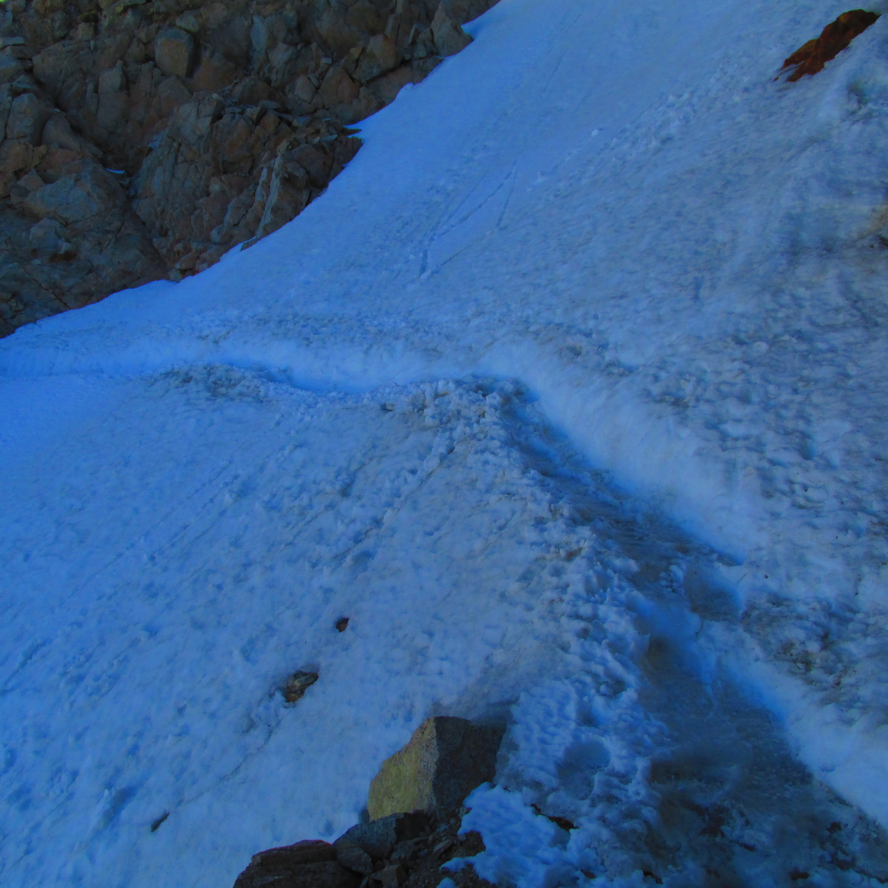 Near the top of Forester Pass, we had to cross a perfect avalanche chute.  There was even a cornice above this.