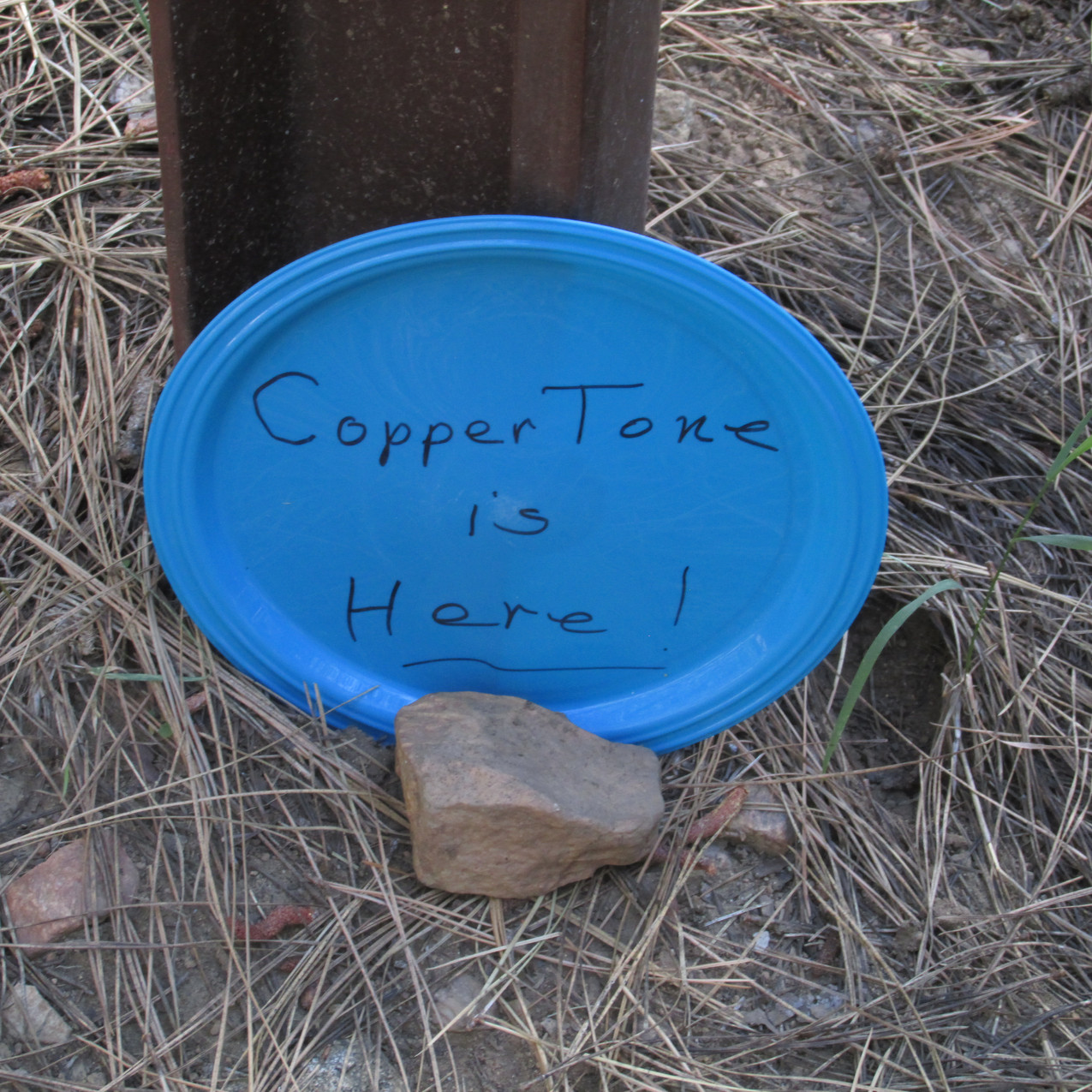 Copper Tone is a trail angel who moved up the PCT with the hikers.  When we saw this sign, we hurried to find Copper Tone because delicious food was available.
