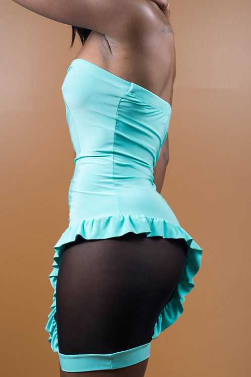 Teal Halter Sheer Side