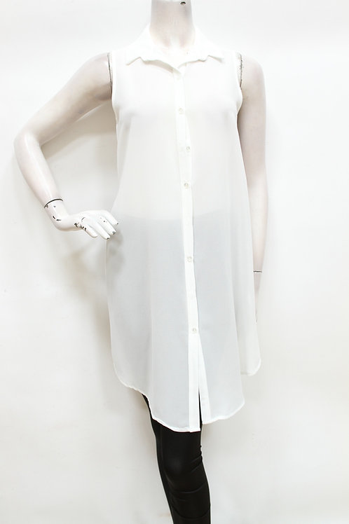 White Chiffon Tunic Top