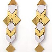 Gold and White Dangle Earrings