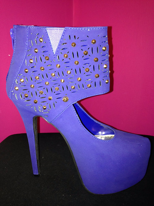 Blue and Gold Stud Platform Shoes
