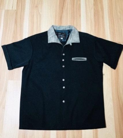Sir Swanky Rayon Black n Gray Camp Shirt
