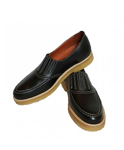 Black Leather Crepe Sole 50's shoes