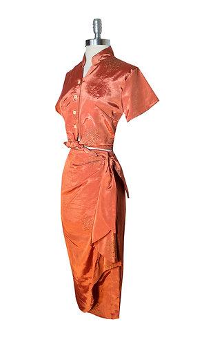 Swankys Vintage Golden Rust 2pc Tiki Sarong
