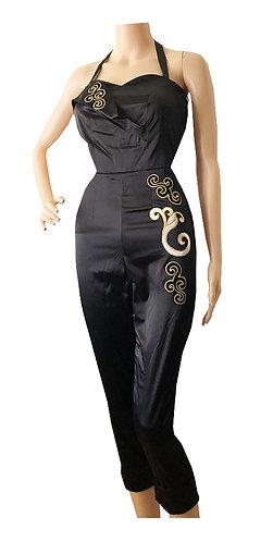Swankys Vintage Ava Black Satin Jumpsuit