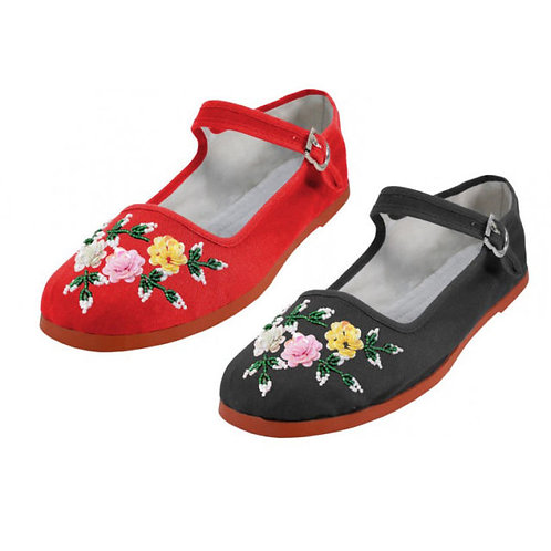Swankys Vintage Floral Sequin Embellished Mary Jane Flats