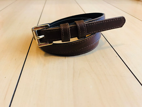 Swankys Vintage Skinny Men's Brown Leather Belt