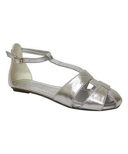 Pin Up Shoes Silver T-Strap