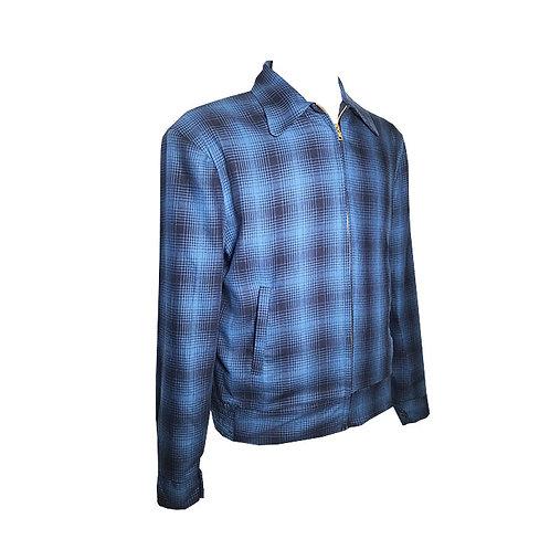 Swankys Vintage Rockabilly Blue Shadow Plaid Memphis Jacket