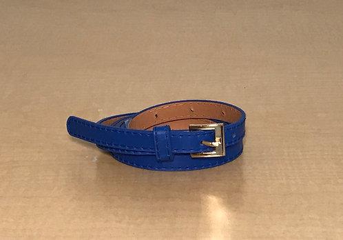 Skinny Men's Blue Pleather Belt