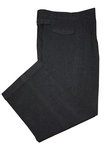 1940s-50s Mens High Waist, Buckle Back Charcoal BLK Trousers
