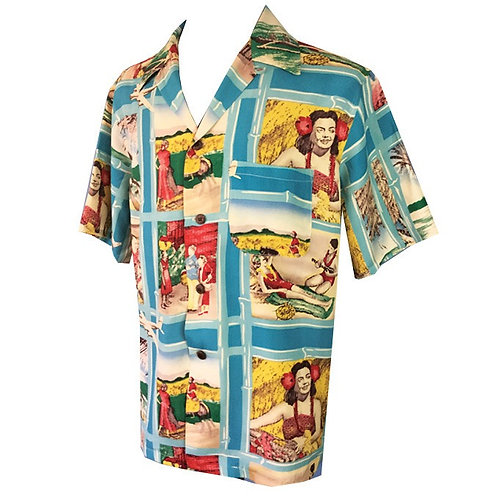 Swankys Vintage Hawaiian  Blue Shirt