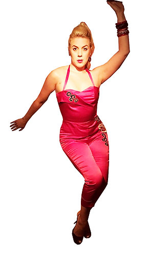 Swankys Vintage Ava Red Satin Jumpsuit