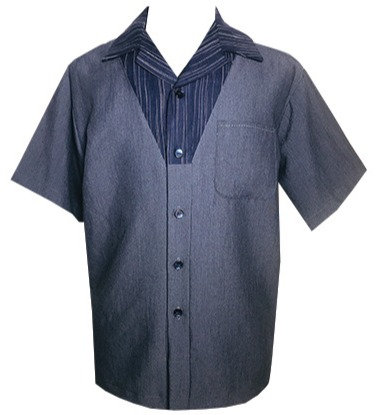 Swankys Vintage V-Panel Blue Steel Button Up Shirt