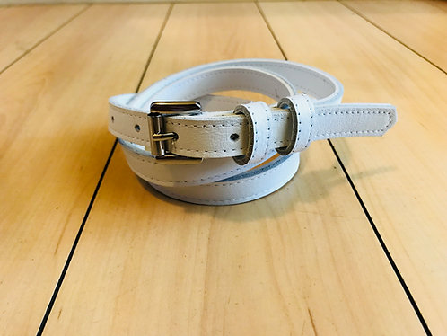 Swankys Vintage Skinny Men's White Leather Belt