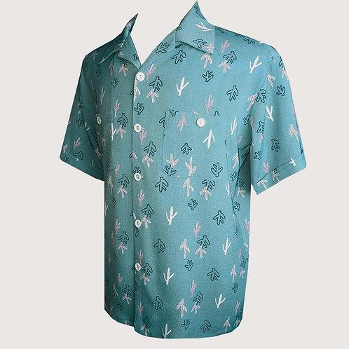 Swankys Vintage Atomic Cactus Print Teal Shirt