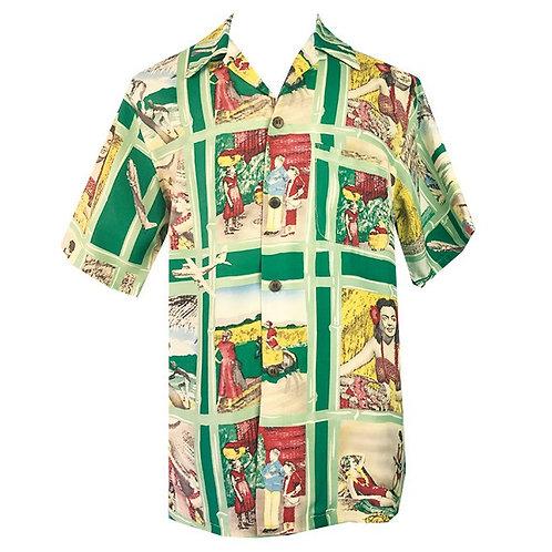 Swankys Vintage Hawaiian Green Shirt