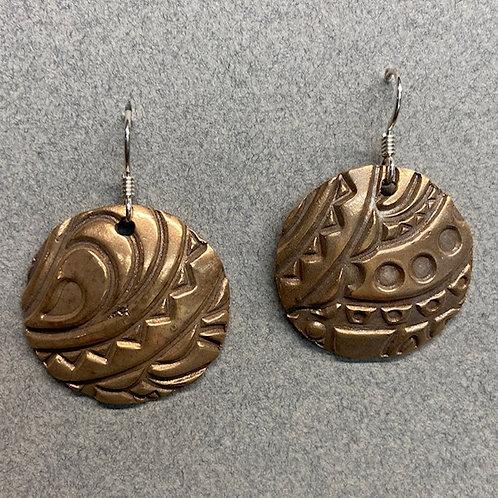 Bronze patterned earrings