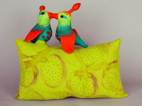 Love birds on a pillow
