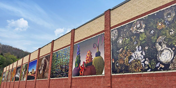 Art Billboard of local artists' work including ellen silberlicht's