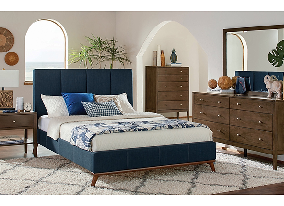 Charity Bedroom Set Blue and Ash Brown - Twin, Full, Queen, King