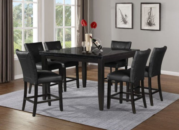 Markina 7 Piece Square Black Marble Top Set (Table & 6 Side Chairs)