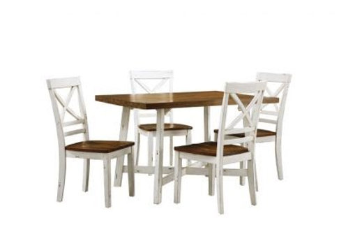 Amelia Dining Table and Four Chairs Set, Light Brown Top with Distressed Base