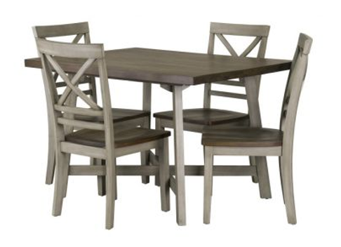 Fairhaven Dining Table and Four Chairs Set, Distressed Oak Plank Top, Grey Base