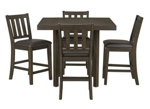 Arlo Counter Height Table with 4-Pack Counter Height Chairs, Chocolate Brown