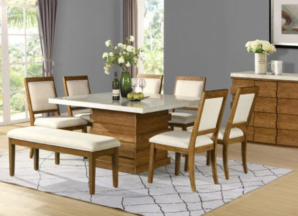 Palmer 8Piece Marble Top Set (Table, Bench, 6 Side Chairs)