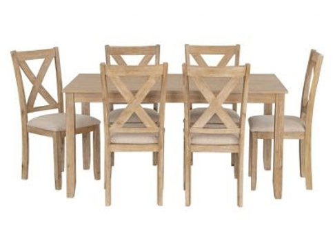 Langston Light Dining Table and 6 Upholstered Chair Set, Natural