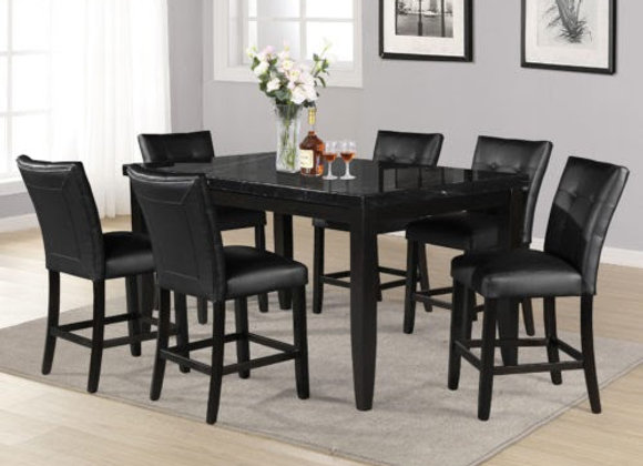 Markina 7 Piece Rectangular Black Marble Top Counter Set (Table & 6 Side Chairs)