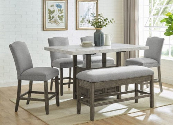 Grayson 6 Piece White Marble Top Counter Set(Table, Bench, 4 Chairs)