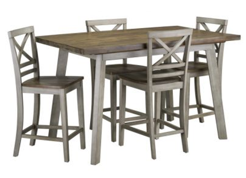 Fairhaven Counter Height Table and Four Chairs Set - Grey