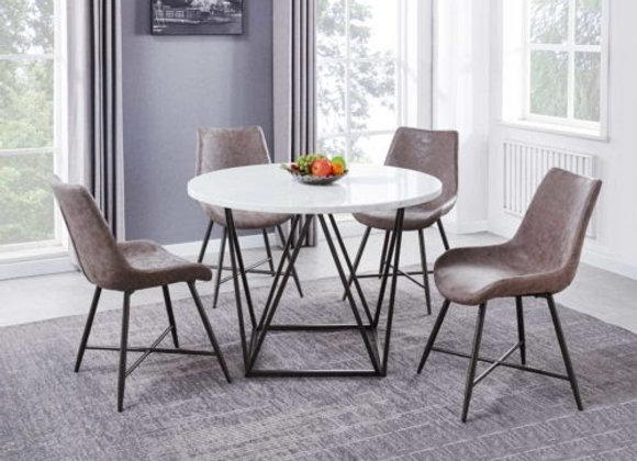 Ramona 5 Piece Marble Top Set (Table & 4 Side Chairs