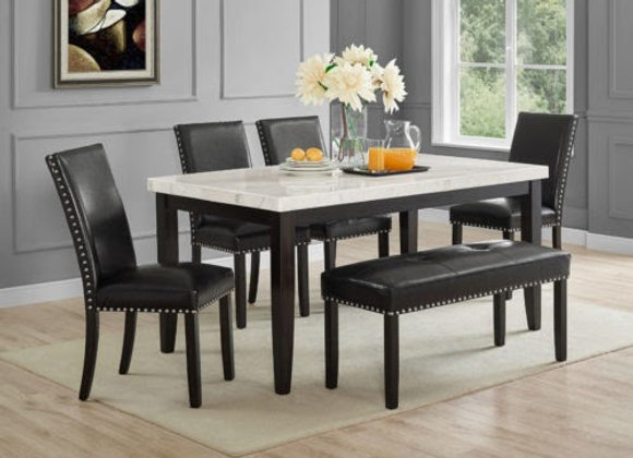 Westby 6 Piece Marble Top Set (Table, Bench, 4 Side Chairs)