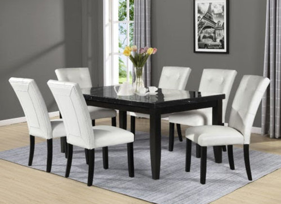Markina 7 Piece Rectangular Black Marble Top Set (Table & 6 Side Chairs)