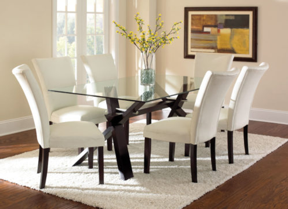 Berkley 7 Piece Set  (Glass Top Table & 6 Side Chairs)