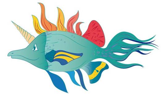 illustration vectorielle poisson licorne