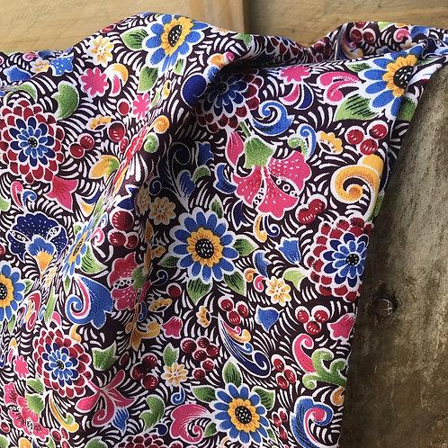 Popeline de coton multicolor fleuri