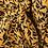 Thumbnail: Crêpe viscose imprimé feuilles marine fond ocre