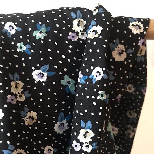 Popeline de coton noire petites fleurs beige/bleu