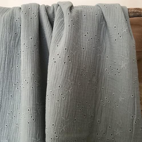 double gaze brodée vert lichen