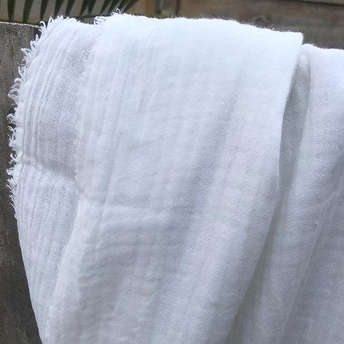 triple gaze de coton blanc cassé