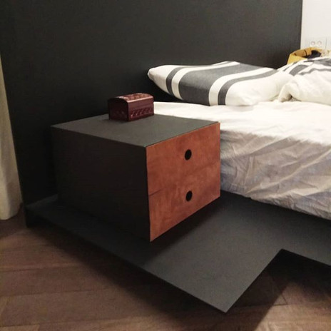 Floating Metal bed with a small night st