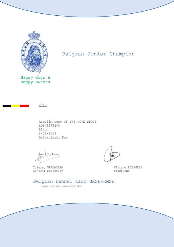 Titre Belgian Junior Champion Ramblin'Ro