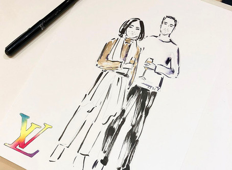 Live illustrations at the Louis Vuitton Christmas event in Amsterdam