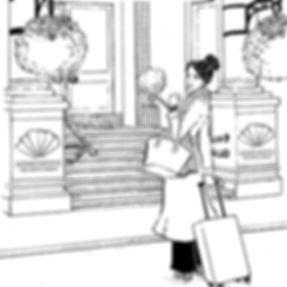 woman at hotel london illustrationkopie.