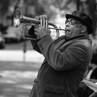 Trumpet Player in B&W